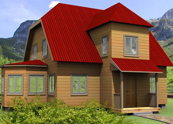 Дом из бруса 9,5х11,5 проект 34