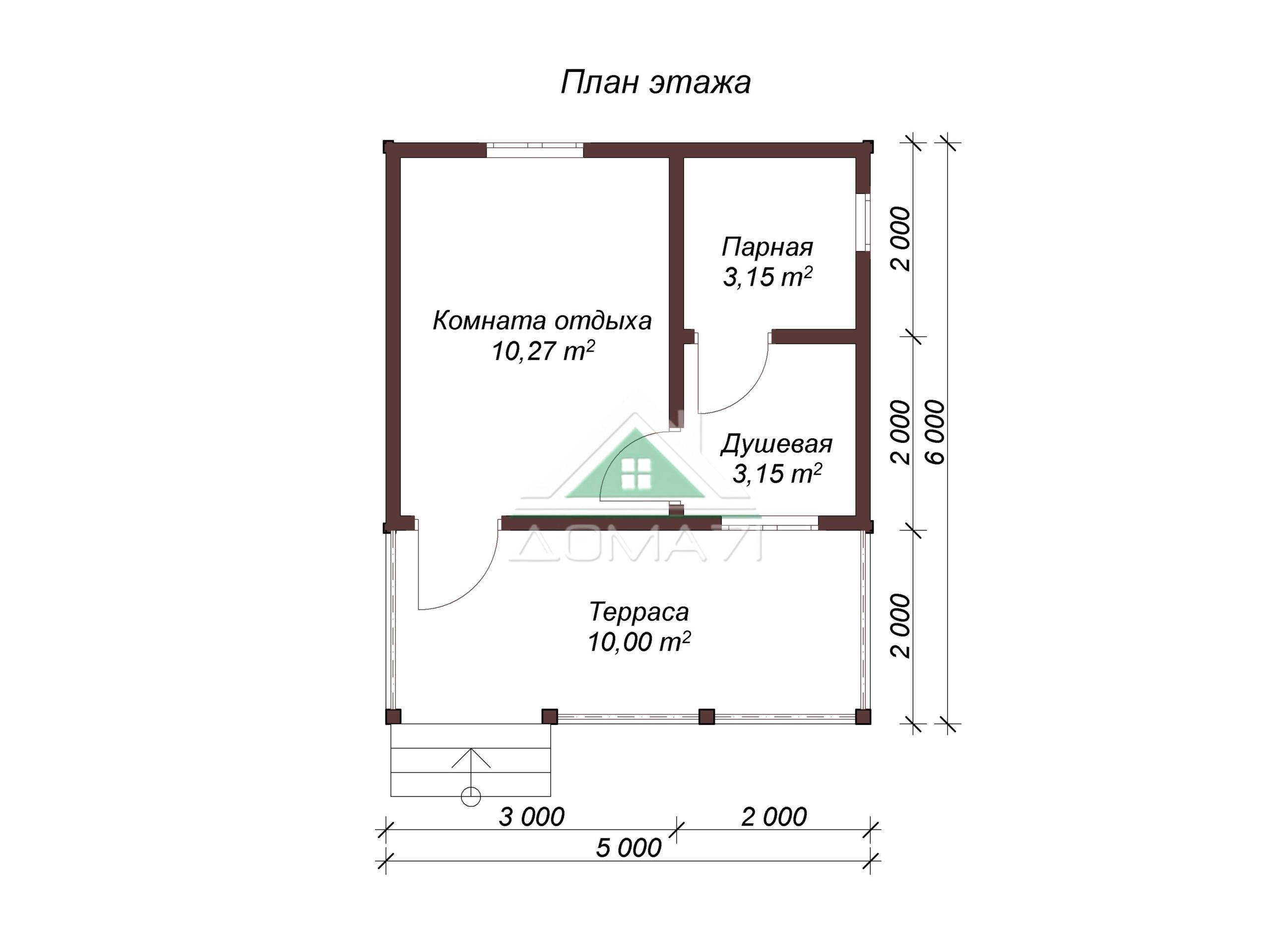 Баня из бруса 5х6 проект 2 план