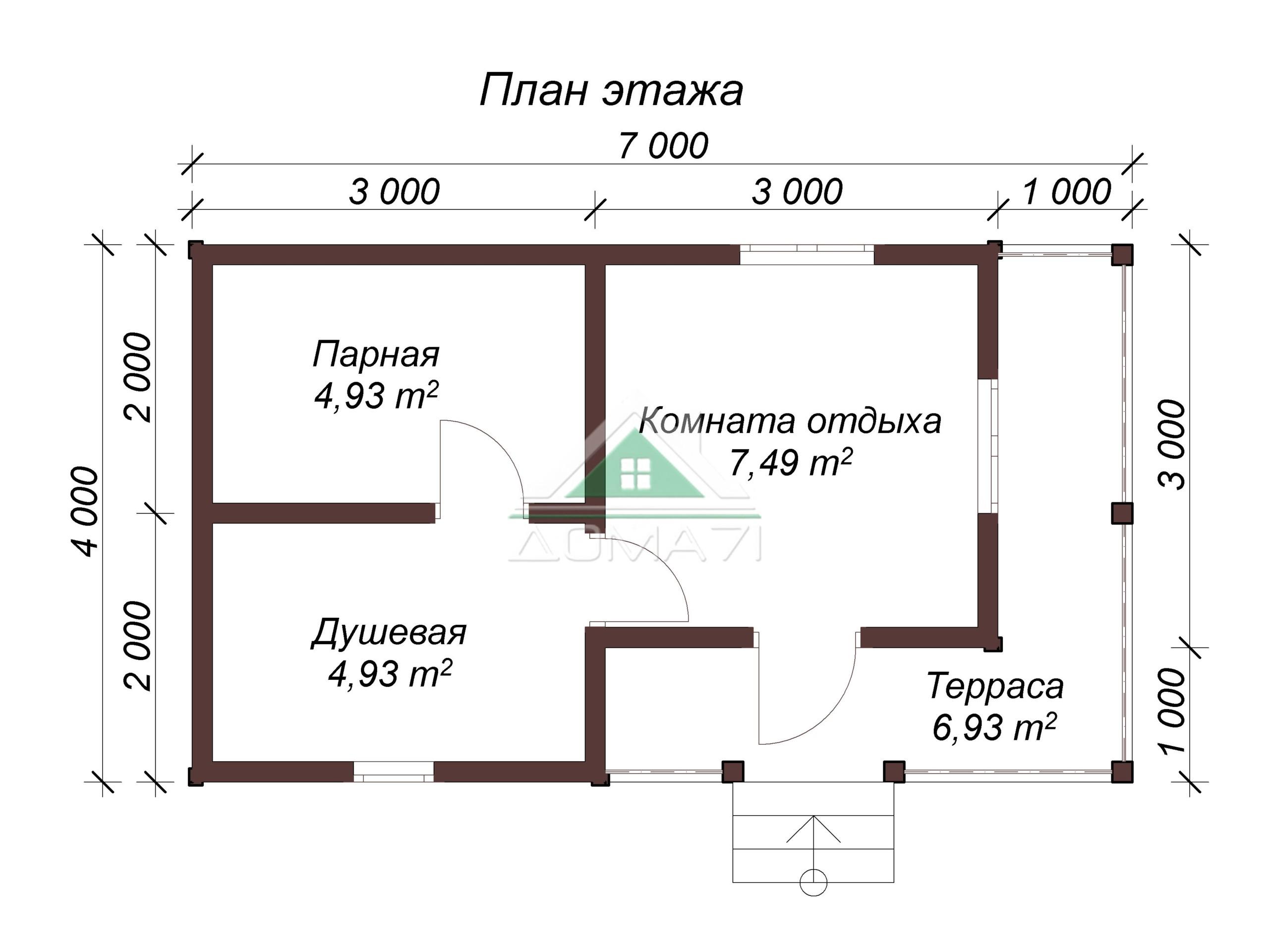 Баня из бруса 7х4 план