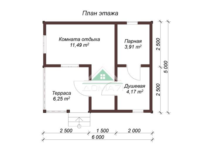 Баня бруса 5х6 план