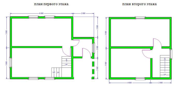 Проект дачного дома из бруса 6х8