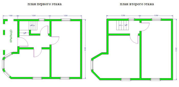 Дом из бруса 6х8 проект 33-2