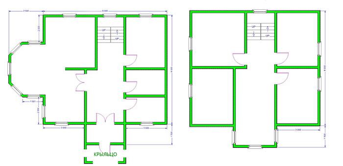 Дом из бруса 9,5х11,5 проект 34-2