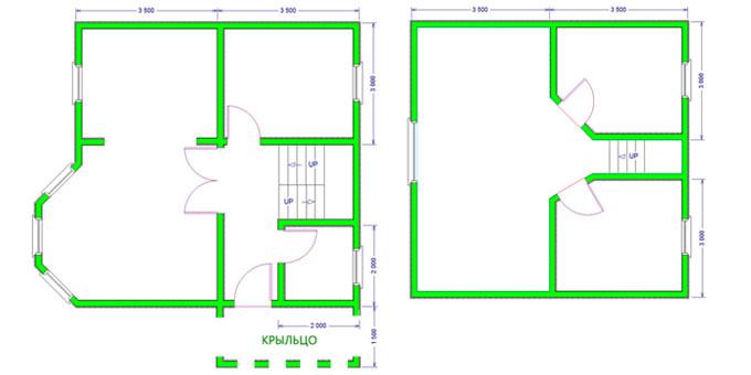 Дом из бруса 8,5х7 проект 35-2