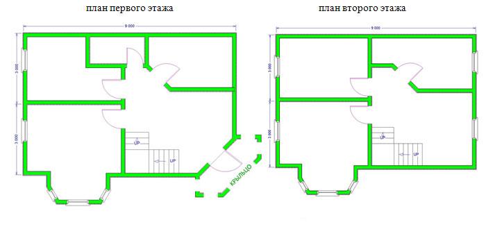 Дом из бруса 7,5х9 проект