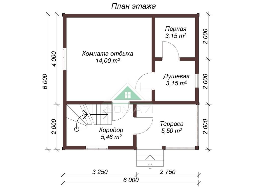 Баня из бруса 6х6 двухэтажная план 1 этажа