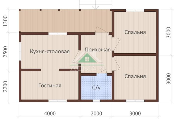 Одноэтажный каркасный дом 6x9