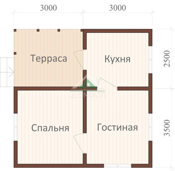 План одноэтажного карксного дома 6х6