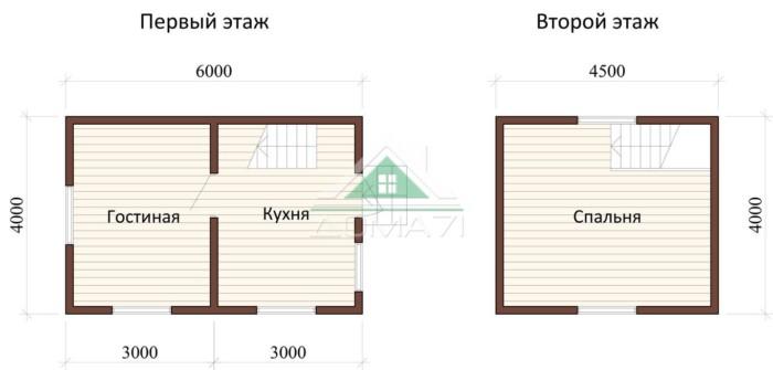 План дачного дом 4х6