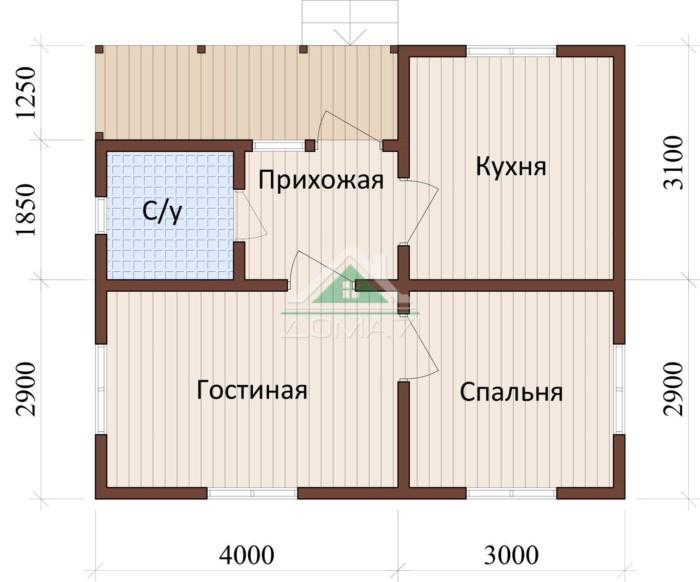 дачный дом 6x7 одноэтажный проект 8