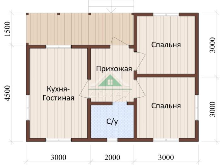 План одноэтажный дачный дом 6x8