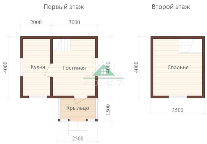 План каркасный дачный дом 4х5