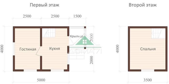 Дачный домик 4х5 двухэтажный