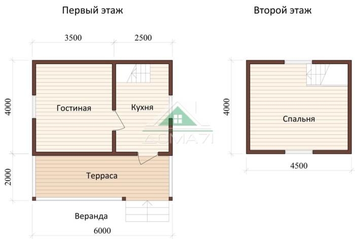 Дачный дом 6x6 проект 11 план