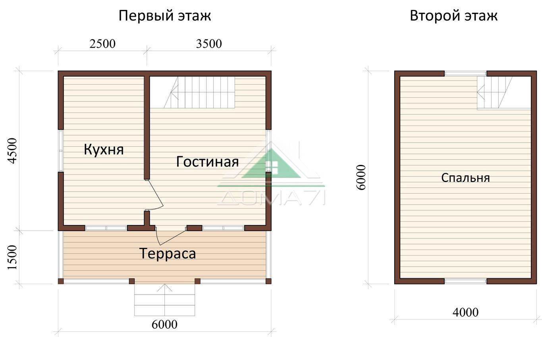 Дачный дом 6x6 строительство под ключ проект 14