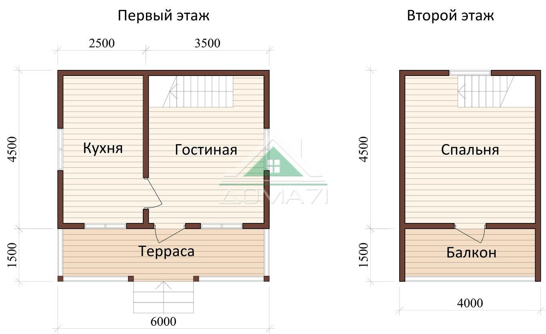Дачный дом 6x6 план проекта 15
