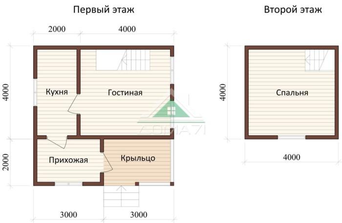 Дачный дом 6x6 план проекта