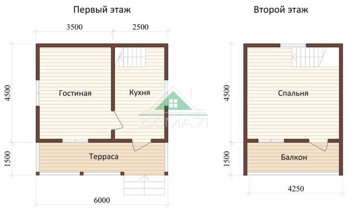 Дачный дом 6x6 проект 17 план дома