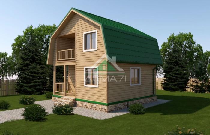 Дачный дом 6x6 с балконом и террасой