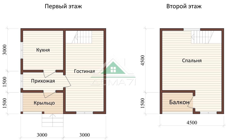Дачный дом 6x6 проект 18 план дома