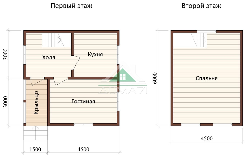 Дачный дом 6x6 проект в два этажа цена