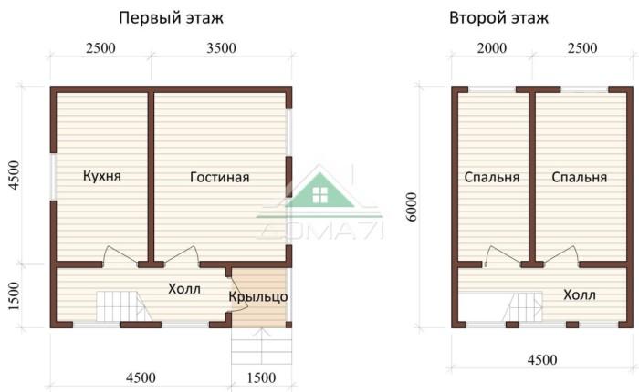 Дачный дом 6x6 проект 20 план