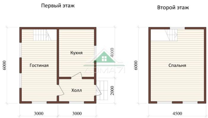 Дачный дом 6x6 проект 21 план дома