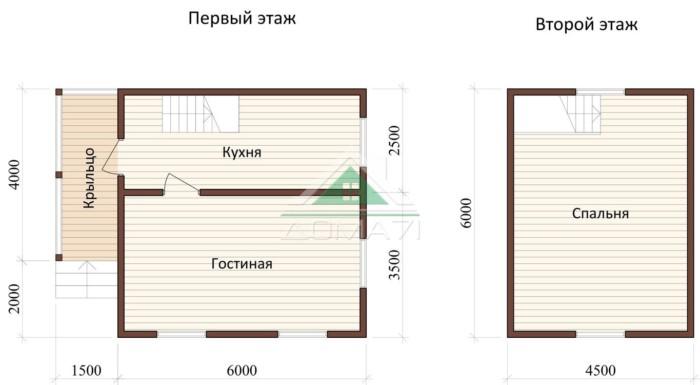 Дачный дом 6x7,5 проект 22 план дома