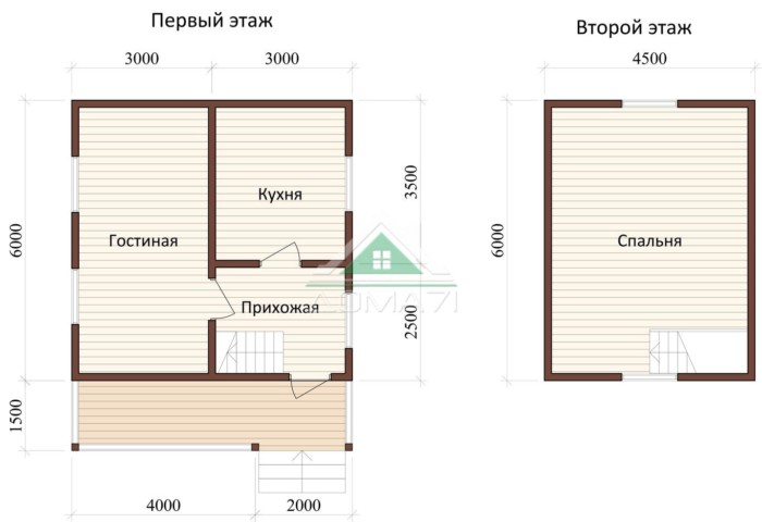 Дачный дом 6x7,5 проект 24 план дома