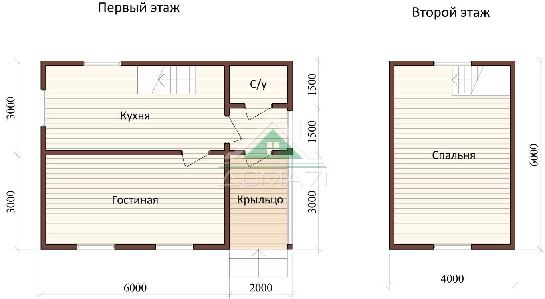 Дачный домик 6x8 проект 26 план