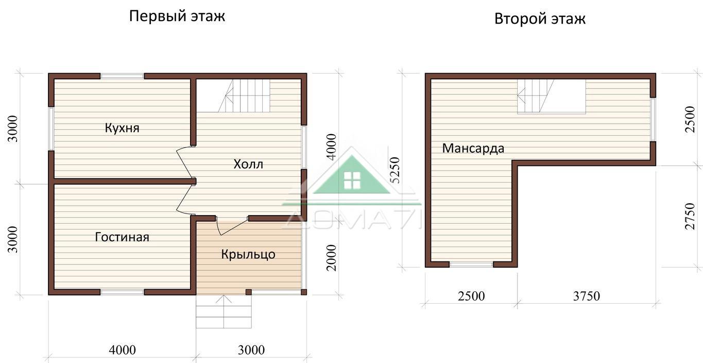 Дачный дом 6x7 проект 27 план