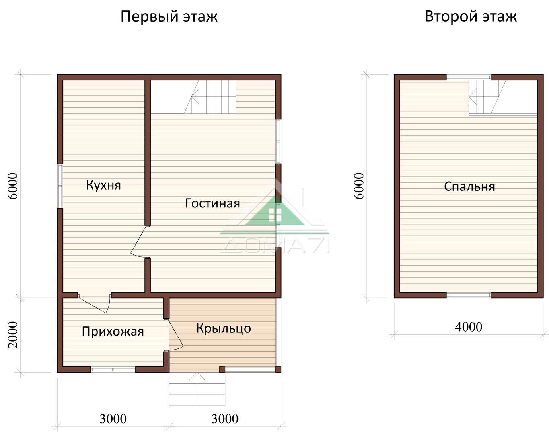 Дачный домик 6x8 проект 28 план