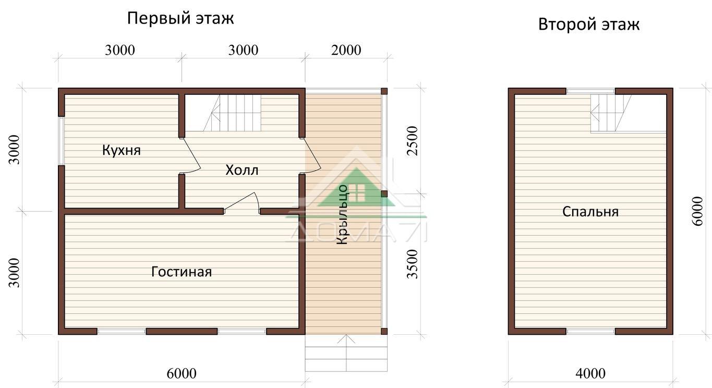 Дачный дом 6x8 проект 23 план дома