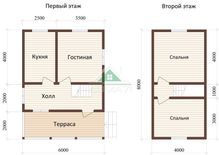 Дачный дом 6x8 проект 30 план