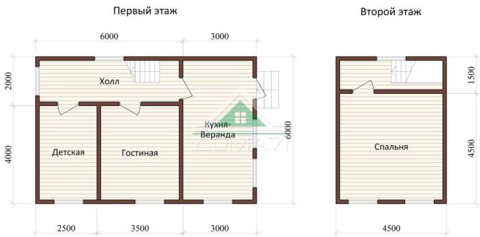 Дачный дом 6x9 проект 31 планировка