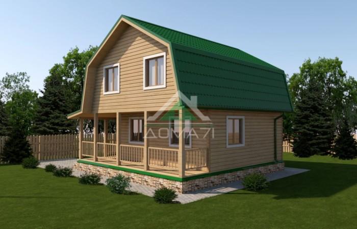 Дачный дом 7,5x7,5 проект 32 c террасой