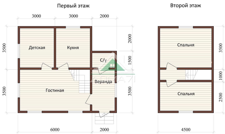 Дачный дом 7x8 проект 33 планировка