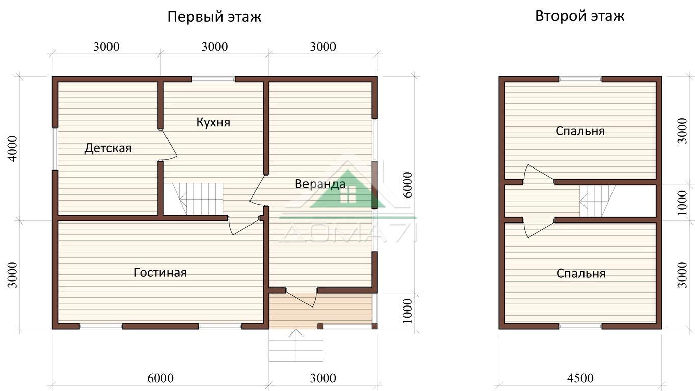 Дачный дом 7x9 проект 34 планировка