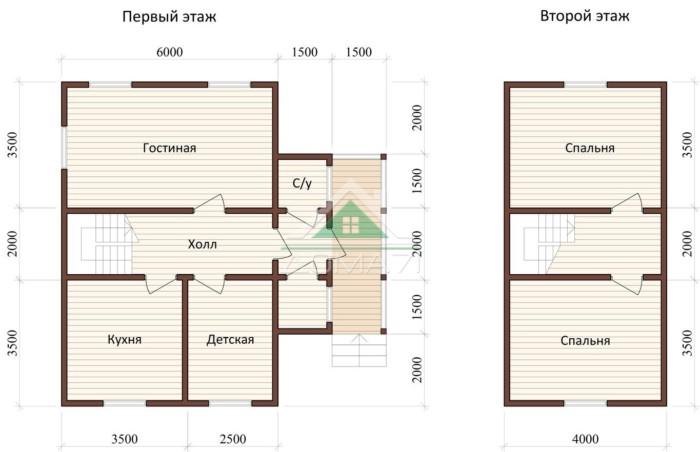 Дачный дом 9x9 проект 35 двухэтажный планировка