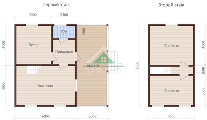 Дачный дом 8x9 проект 36 план