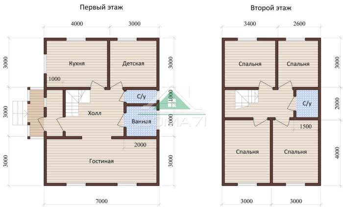 Дачный дом 7x9 проект 37 план