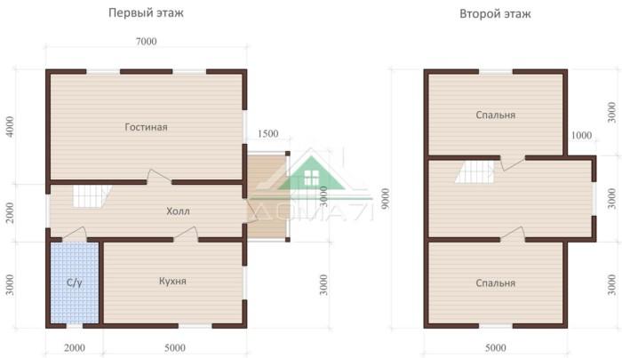 дачный дом 7х9 проект 41 план