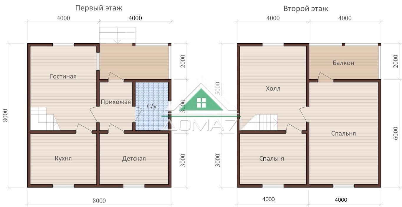 Дом каркасный 8х8 планировка