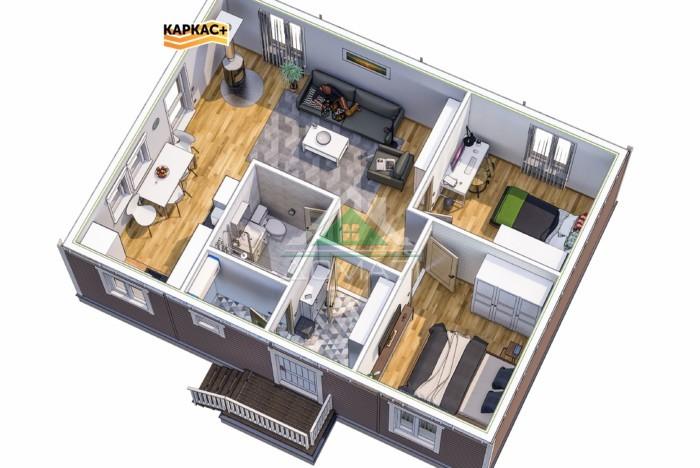 Каркасный одноэтажный дом 7х9 планировка