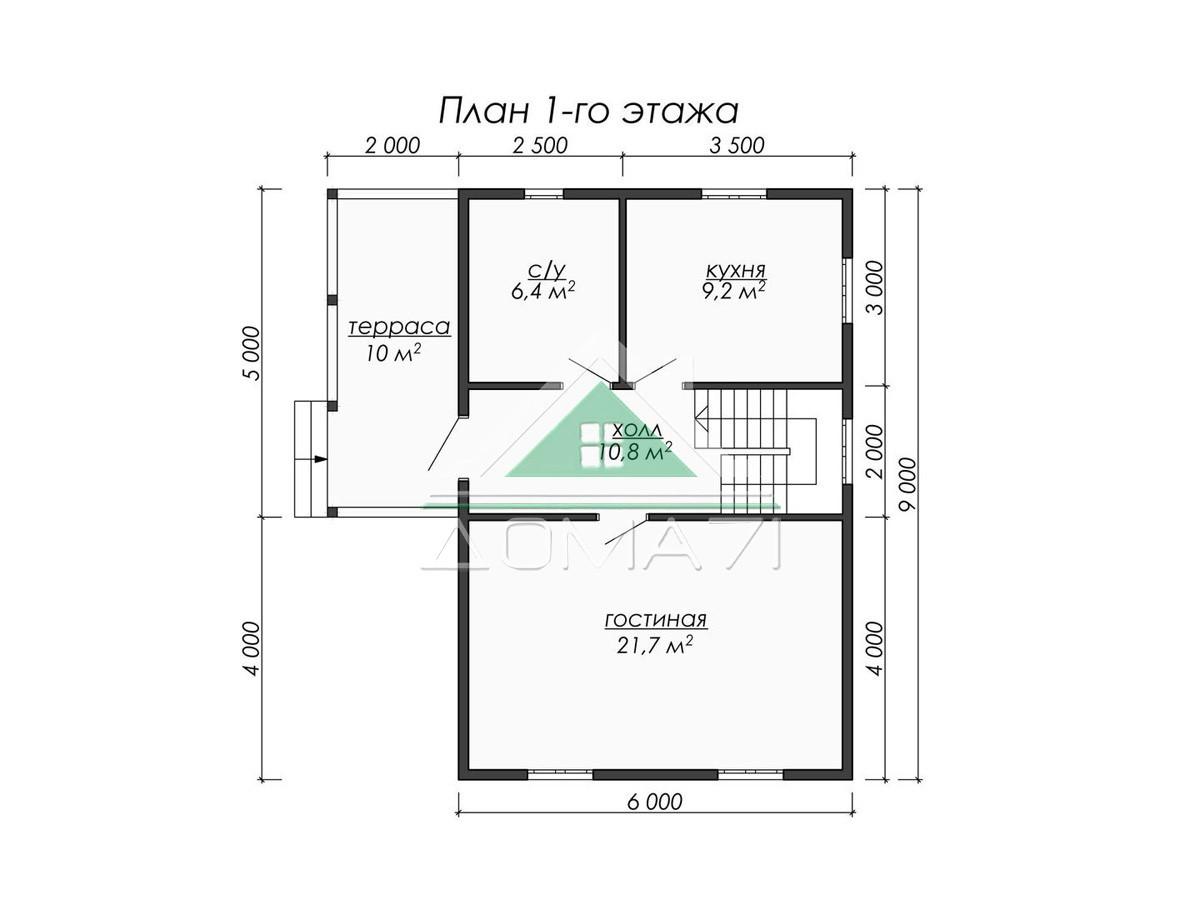 Каркасный дом 6x9 в Туле план 1 этажа