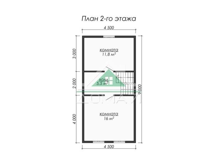 Каркасный дом 6x9 в Туле план 2 этажа