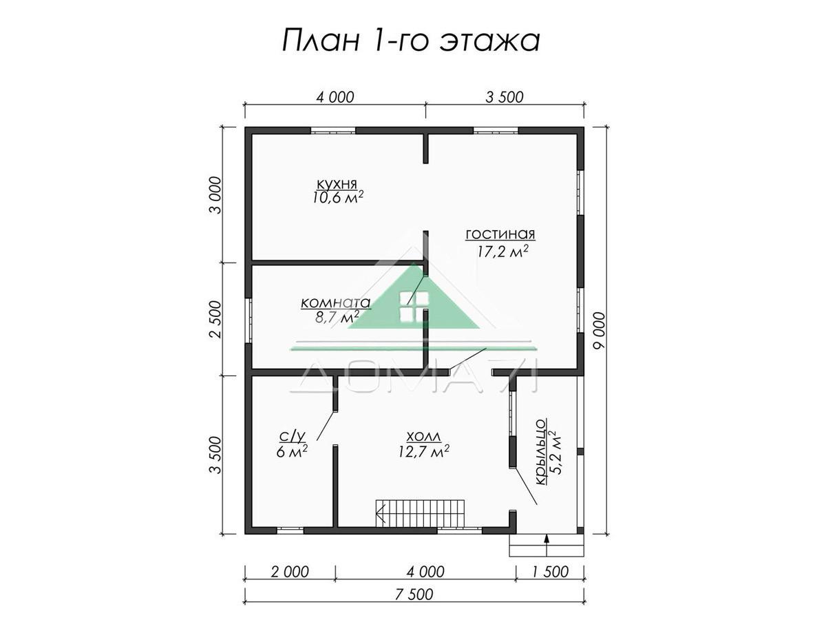 Каркасный дом 9x7.5 планировка 1 этажа