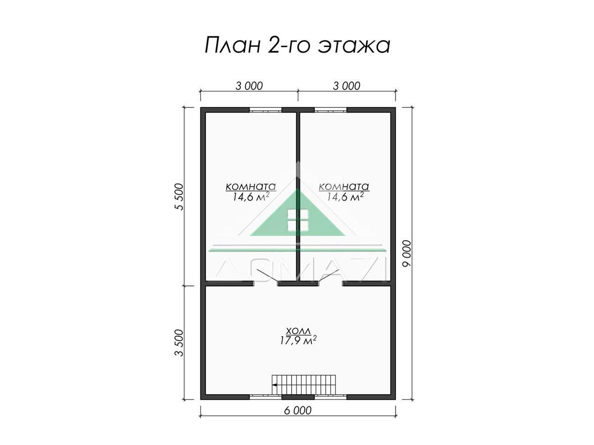 Каркасный дом 9x7.5 планировка 2 этажа