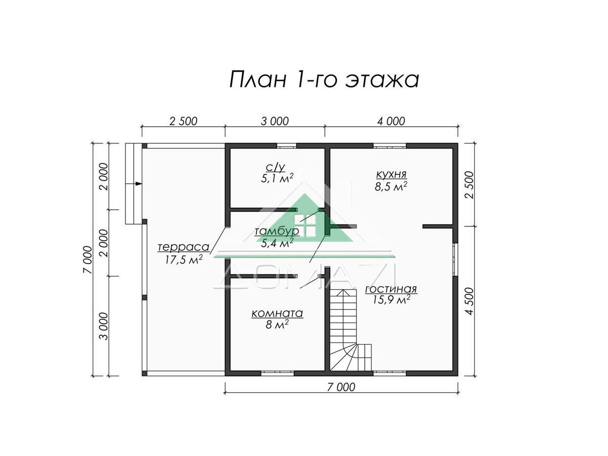 Каркасный дом 9.5×7 план 1 этажа
