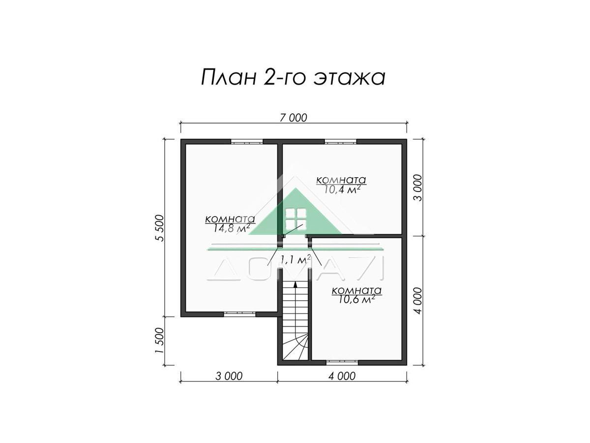 Каркасный дом 9.5×7 план 2 этажа